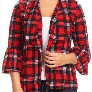 Jackets & Blazers - Red Plaid Jacket Blazer